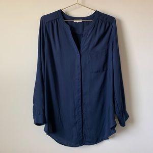 Pleione Navy Blue Blouse Button Down Top Large 157
